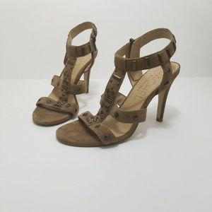 Rachel Roy || brown suede studded heeled sandals